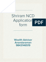 Shriram City Union Finance Non Convertible Debentures Application Form Call Wealth Advisor Anandaraman @ 9843146519