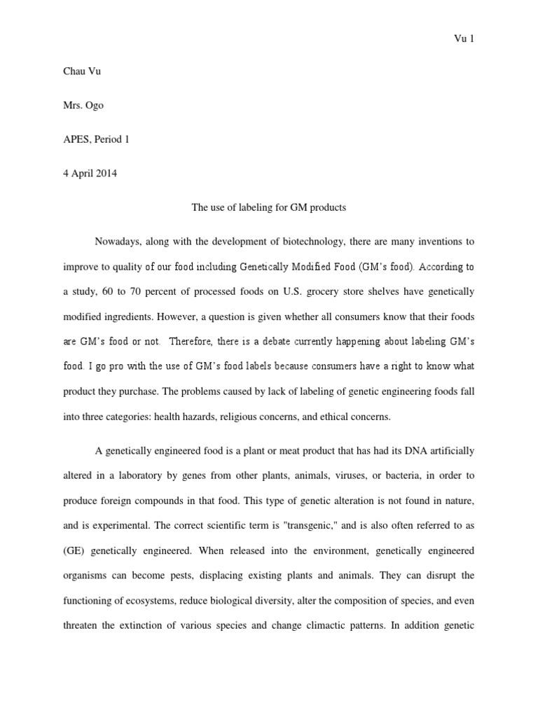 Persuasive Speech Genetically Modified Essay   Bartleby