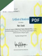 nctm certificate