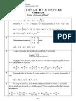 Chestionar - Grila - Matematica Fizica - Sesiunea a II-A - 2007