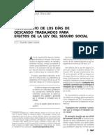 Tratamiento de los días de descanso trabajados para efectos de la Ley del Seguro Social