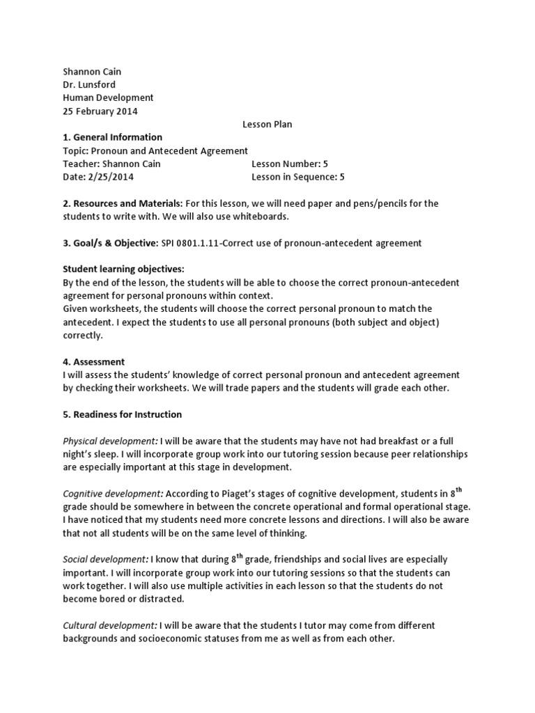 Lesson Plan Pronoun Antecedent Lesson Plan Cognitive Development