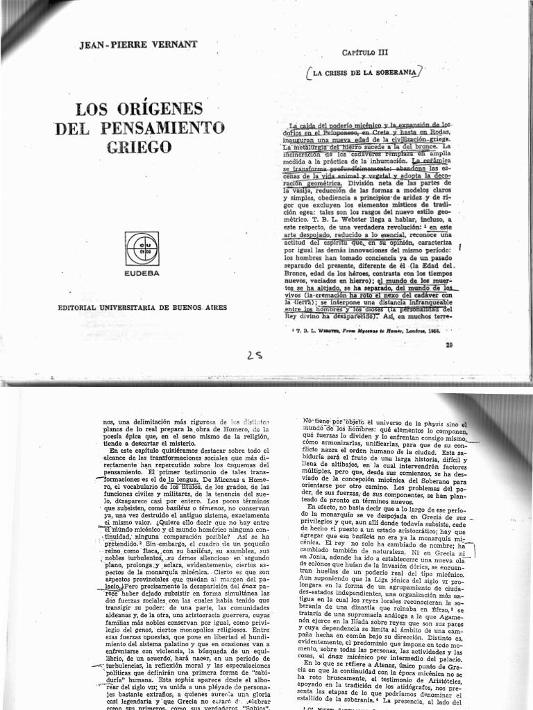 Jean pierre vernant _ los or genes del pensamiento griego _ cap iii y iv