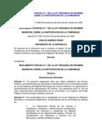 Decreto 1297. GOE 5398 1999. REGLAMENTO PARCIAL N° 1 DE LA LEY ORGANICA DE REGIMEN MUNICIPAL SOBRE LA PARTICIPACION DE LA COMUNIDAD