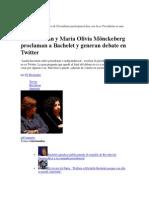 28 de noviembre de 2013 Faride Zerán y María Olivia Mönckeberg proclaman a Bachelet y generan debate en Twitter