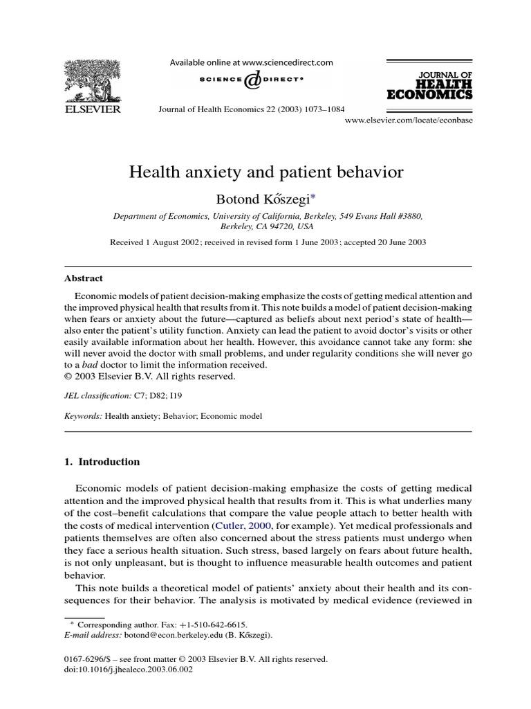 Anxiety   Utility   Economic Model