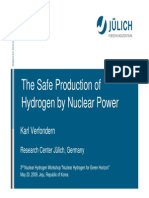 The safe production of hydrogen by nuclear power