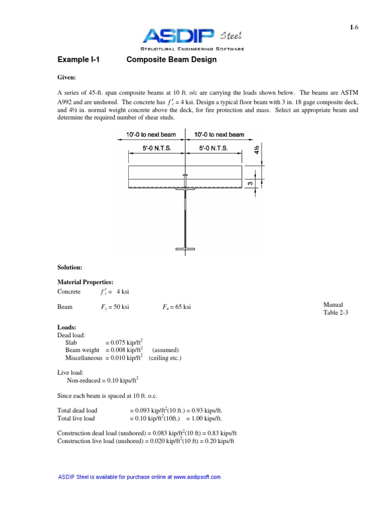 ASDIP Steel - Composite Beam Verification Example   Beam (Structure