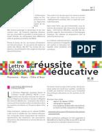 Lettre régionale de la réussite éducative n°1 - Octobre 2013