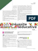 Lettre régionale de la réussite éducative n°2 - Janvier 2014