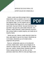 SEGUNDO MENSAJE  DE DIOS PARA LOS LÍDERES ESPIRITUALES VENEZOLANOS