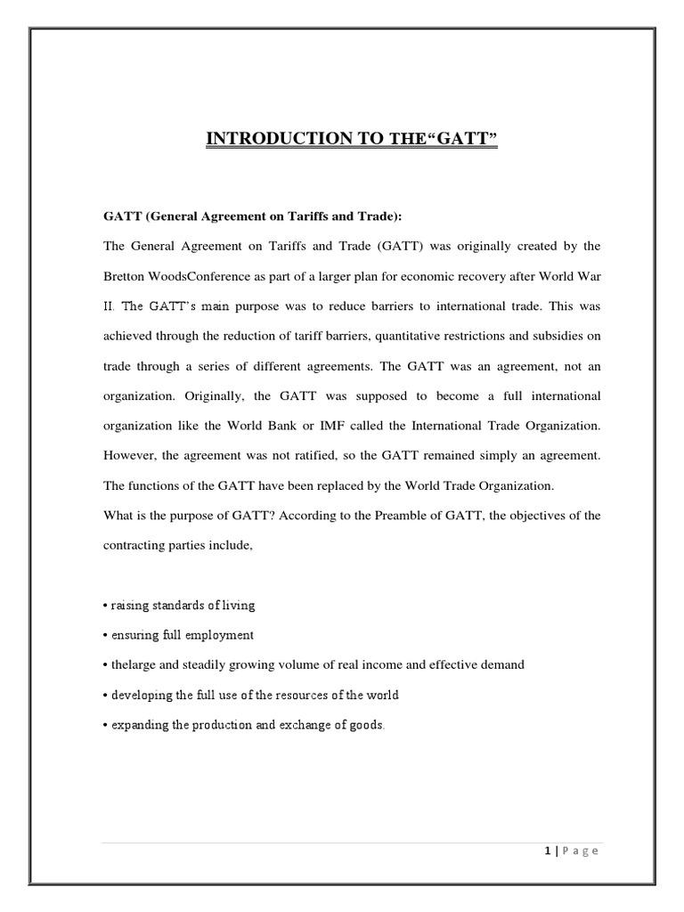 Final Gatt Wto Project World Trade Organization General