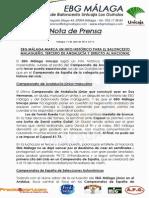 25.- EBG MÁLAGA MARCA UN HITO HISTÓRICO, TERCERO DE ANDALUCÍA Y AL NACIONAL