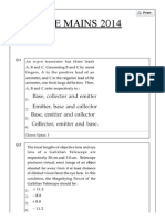 Online Paper 2014 of 9th April 2014 jee main