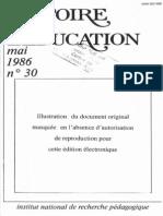 Histoire de l'education, Mai, 1986, nº30