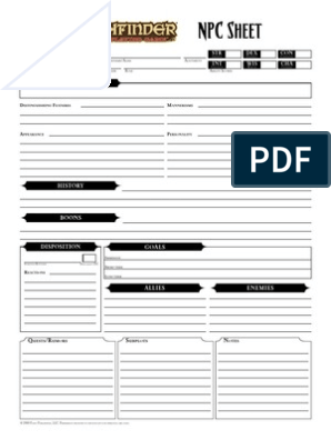 photograph about Pathfinder Character Sheets Printable named Pathfinder - NPCSheet - Fillable