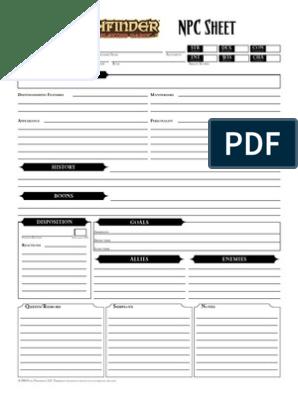 image relating to Pathfinder Character Sheets Printable called Pathfinder - NPCSheet - Fillable