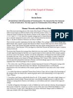 Mark's Use of the Gospel of Thomas