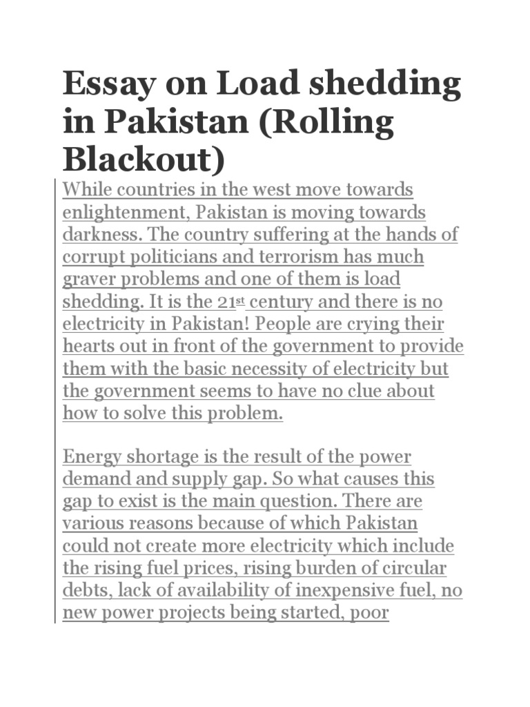 essay on shortage of cng in pakistan