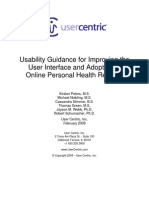 Usability Guidance for Improving the User Interface and Adoption of Online Personal Health Records