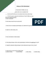 history of life worksheet