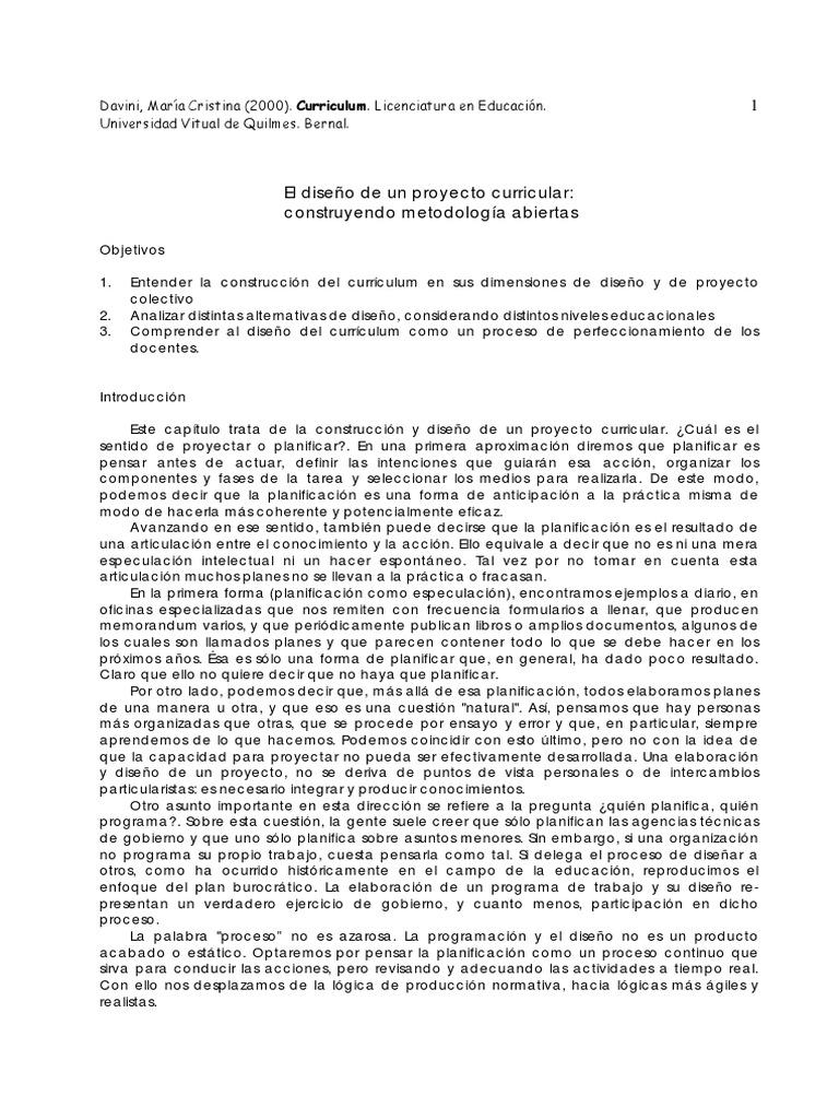 Davini, M. C. - El diseño de un proyecto curricular - construyendo ...