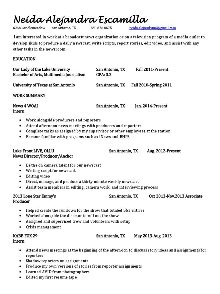Neida's Resume docx | News Broadcasting | San Antonio