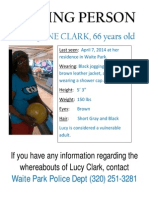 Missing Person Flier for Lucy Jane Clark