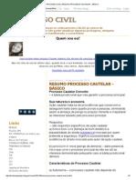 PROCESSO CIVIL_ RESUMO PROCESSO CAUTELAR - BÁSICO