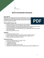 BEETS Internship Application Summer 2014