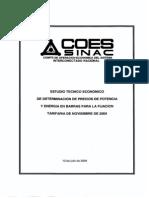 Estudio técnico - económico de determinación de precios de potencia y energía para la fijación tarifaria