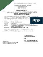 Pengumuman Pembukaan Rekening Bagi Penerima Beasiswa Bank Rakyat Indonesia