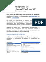 Criando um ponto de restauração no Windows XP