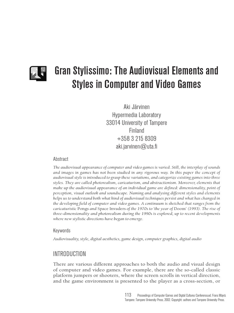 Aki Järvinen The Audiovisual Elements And Styles In Computer And - Video game design document example