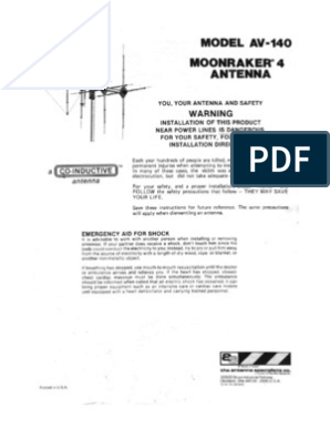 moonraker 4 CB Antenna user manual