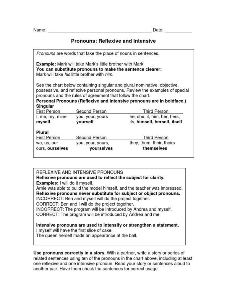 Workbooks reflexive pronoun worksheets for 2nd grade : 56 pronouns | Grammatical Number | Pronoun