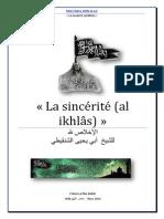 La Sincerite Envers Allah Le Tres Haut Shaykh Abu Yahya Ash Shinqiti