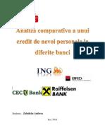 Analiza Comparativa a Unui Credit de Nevoi Personale La Diferite Banci