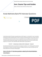 Kotak Mahindra Bank PO Interview Questions _ Entrance and Govt