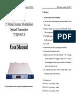 1550 External Modulation Optical Transmitter GFS1550F-E-Manual