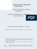La Politica de Brasil Para La Integracion Suramericana