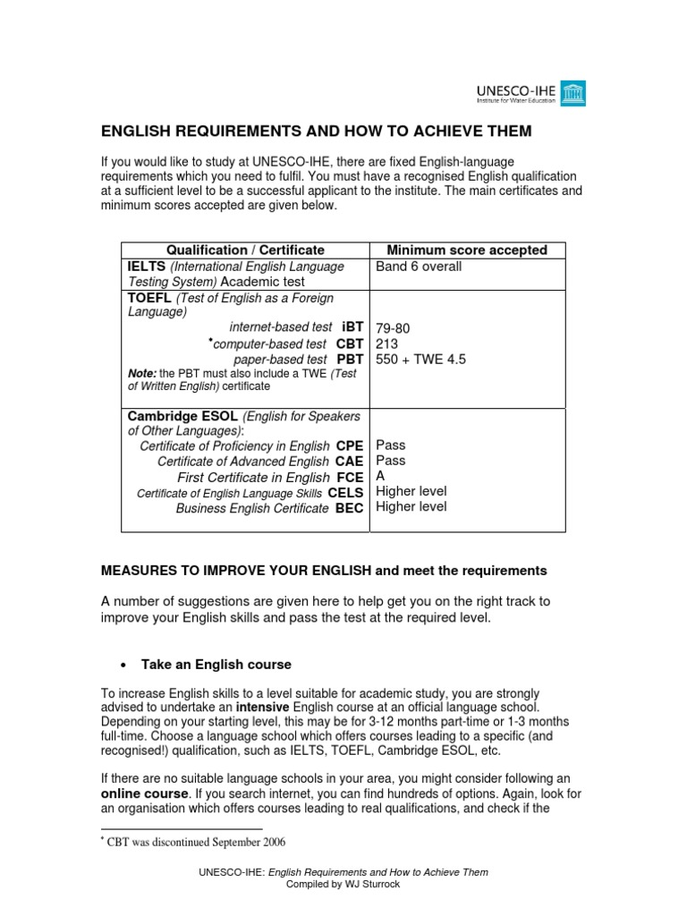 English requirements and how to achieve themapr09 test of english requirements and how to achieve themapr09 test of english as a foreign language test assessment 1betcityfo Image collections