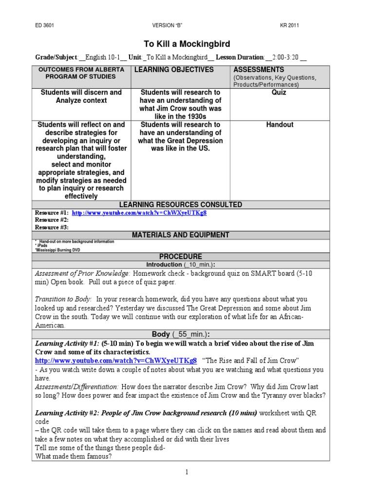 Tkam Background Info2 April 1 Applied Psychology Educational