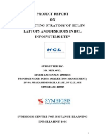 Marketing Strategy of Hcl in Laptops and Desktops in Hcl Infosystems Ltd