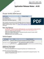 Chrysler J2534 Application Release Note