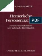 Hans Von Kamptz, Homerische Personennamen