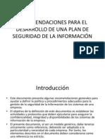 Recomendaciones Para El Plan de Seguridad de La Informacion