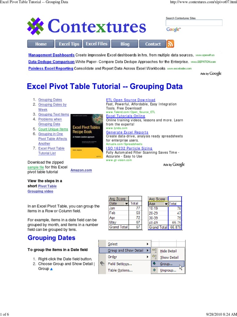 excel pivot table tutorial microsoft excel information science