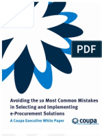 Avoiding the 10 Most Common Mistakes in Selecting & Implementing e-Procurement Solutions