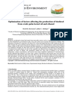 Kuwornoo 2010-Optimization of Factors Affecting the Production of Biodiesel